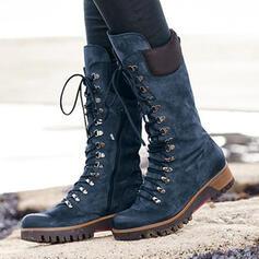 Femmes Similicuir Talon compensé Bottes mi-mollets Martin bottes bout rond avec Dentelle Couleur unie chaussures