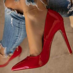 Mulheres PU Salto agulha Bombas Fechados Dedo pontudo com Cor sólida sapatos