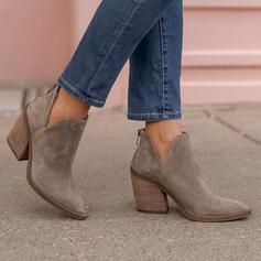 Mulheres Camurça Salto robusto Bota no tornozelo Low Top Dedo pontudo com Zíper Cor sólida sapatos