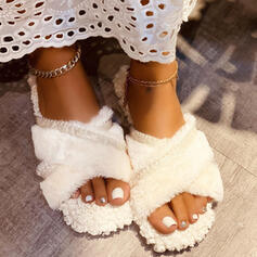 Women's Fake fur Flat Heel Peep Toe Slippers With Hollow-out Solid Color Crisscross shoes