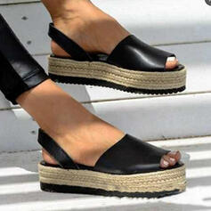 Women's PU Flat Heel Sandals Flats Platform Peep Toe With Hollow-out Bandage shoes