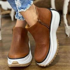 De mujer Cuero Tacón plano Plataforma Botas Botas al tobillo Encaje con Cremallera Color sólido zapatos