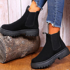 Women's PU Wedge Heel Platform Mid-Calf Boots With Elastic Band Solid Color shoes