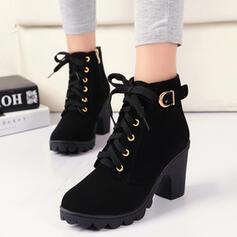 De mujer PU Tacón ancho Botas Tacones con Hebilla Cordones Color sólido zapatos