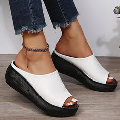 Femmes PU Talon compensé Sandales À bout ouvert Chaussons avec Couleur unie chaussures