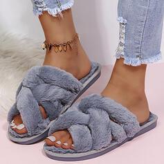 Femmes Faux-Fur Talon plat Chaussures plates À bout ouvert Chaussons avec Fourrure Couleur unie chaussures
