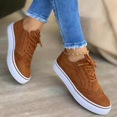 De mujer Ante Tacón plano Plataforma Planos Top bajo Zapatillas con Cordones Color sólido zapatos
