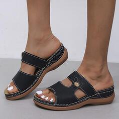 Femmes PU Talon compensé Sandales Plateforme Compensée À bout ouvert Chaussons avec Ouvertes Couleur unie Imprimé fleur chaussures