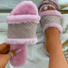 Women's PU Flat Heel Sandals Slippers With Rhinestone Colorblock shoes