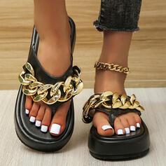 Femmes PU Talon plat Sandales Plateforme À bout ouvert Chaussons avec Chaîne Couleur unie chaussures