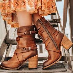 Mulheres PU Salto robusto Bombas Botas na panturrilha Toe rodada com Fivela Zíper Cor sólida sapatos