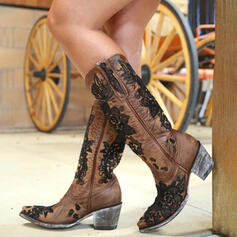 Women's Lace PU Chunky Heel Mid-Calf Boots Square Toe With Splice Color Embroidery shoes
