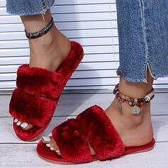 Femmes Faux-Fur Talon plat Sandales Chaussures plates À bout ouvert Chaussons avec Ouvertes Fourrure Couleur unie chaussures
