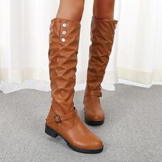 De mujer PU Tacón plano Botas Botas longitud media con Color sólido zapatos