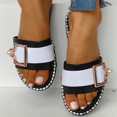 Women's PVC Flat Heel Slippers With Buckle shoes