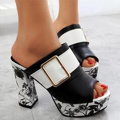 Femmes PU Talon bottier Sandales Escarpins À bout ouvert Chaussons Talons avec Boucle Une fleur Inmprimé chaussures