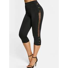 Solid Capris Casual Plus Size See-through Button Pants Leggings
