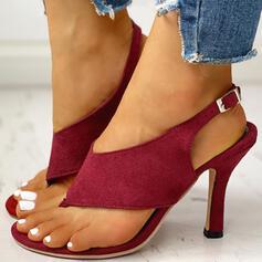 Women's PU Stiletto Heel Sandals Pumps Peep Toe Flip-Flops Heels With Buckle shoes