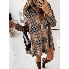 Plaid Long Sleeves Shift Above Knee Casual Shirt Dresses
