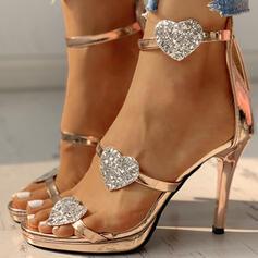 Women's PU Stiletto Heel Sandals Pumps Peep Toe With Zipper shoes