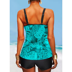 Leaves Print Strap V-Neck Plus Size Boho Tankinis Swimsuits