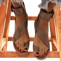 Women's Leatherette Flat Heel Sandals Peep Toe Slingbacks With Buckle shoes