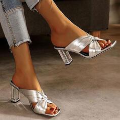 Women's PU Chunky Heel Sandals Peep Toe Slippers With Crisscross shoes