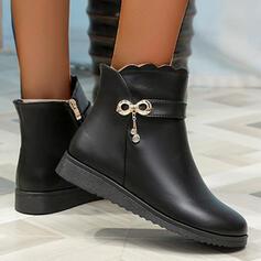 De mujer PU Tipo de tacón Botas Botas al tobillo Encaje con Cremallera Color sólido zapatos