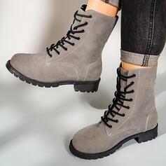 Femmes Similicuir Talon bottier Martin bottes bout rond avec Couleur unie chaussures