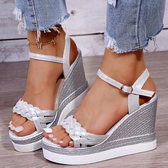 De mujer PU Tipo de tacón Sandalias Plataforma Cuñas Encaje Solo correa con Hebilla Correa Trenzada Color sólido zapatos