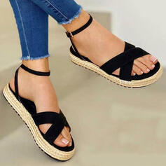 De mujer Lona Tacón plano Sandalias con Color sólido Cruzado zapatos