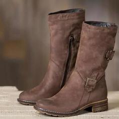 Mulheres Couro Salto baixo Botas na panturrilha Toe rodada com Fivela Zíper Cor sólida sapatos