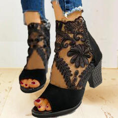 De mujer Ante Malla Tacón ancho Sandalias Salón Botas al tobillo Tacones con Cremallera zapatos