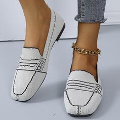 Femmes PU Talon plat Chaussures plates Low Top Bout carré Mules Glisser sur avec Inmprimé chaussures