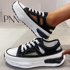 Women's PU Flat Heel Flats Platform Round Toe With Lace-up Solid Color shoes