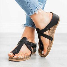 Women's PU Wedge Heel Sandals Peep Toe Slippers With Rivet shoes