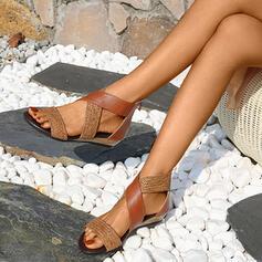 Women's Leatherette Flat Heel Sandals Flats Peep Toe With Split Joint shoes