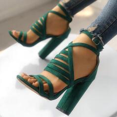 Women's Suede Sandals Pumps Peep Toe Heels With Buckle shoes