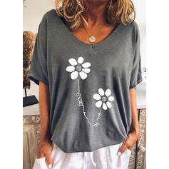 Floral Letter V-Neck 1/2 Sleeves T-shirts