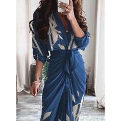 Print/Floral Long Sleeves Sheath Elegant Maxi Dresses