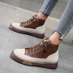 Women's Microfiber Flat Heel Ankle Boots Martin Boots Round Toe With Lace-up Splice Color shoes