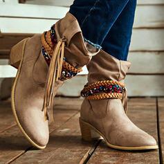 De mujer PU Tacón ancho Botas longitud media Dedo del pie puntiagudo con Borla Correa Trenzada Color sólido zapatos