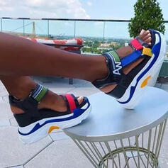 Women's Microfiber Leather Wedge Heel Sandals Platform Wedges Peep Toe Heels With Hollow-out Splice Color shoes