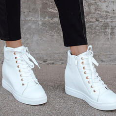 Women's PU Flat Heel Wedges Boots High Top Winter Boots With Lace-up Solid Color shoes