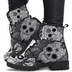 Mulheres PU Salto robusto Botas Bota no tornozelo Martin botas Toe rodada com Aplicação de renda Flor sapatos