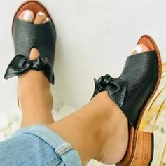 Femmes PU Talon bottier Sandales Escarpins Chaussons avec Bowknot Ouvertes Couleur unie chaussures
