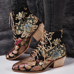 De mujer PU Tacón ancho Botas al tobillo Top bajo Dedo del pie puntiagudo con Cordones Floral Bordado zapatos