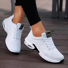 Femmes Tissu Talon plat Chaussures plates Low Top bout rond Tennis avec Dentelle Couleur unie chaussures