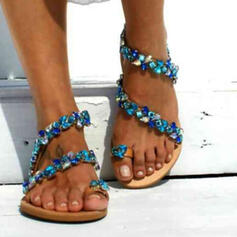 Women's PU Flat Heel Sandals Flats Peep Toe Toe Ring With Applique Hollow-out shoes