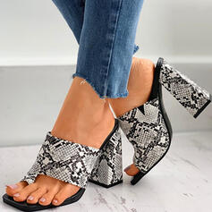 Women's PU Chunky Heel Sandals Peep Toe Slippers Toe Ring With Hollow-out Splice Color shoes
